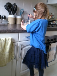 My Princess mixing the eggs.