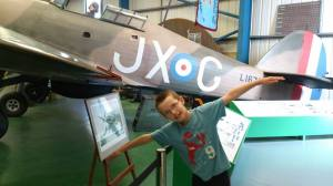 My Prince soaking up the inspiration at the Military Aviation Museum.